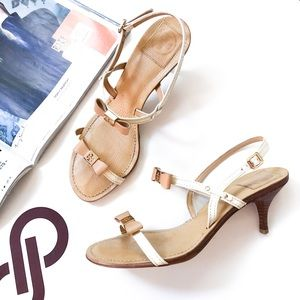 Tory Burch Kailey Patent Bow Sandals Ivory / Gold